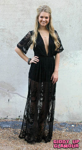 New Romantics Lace Romper in Black