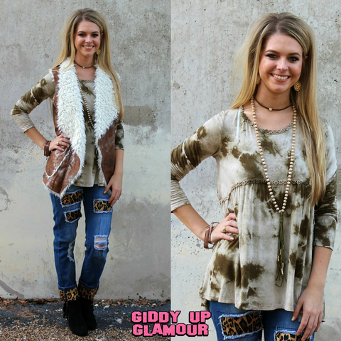 Play It Cool Olive Green Tie Dye Long Sleeve Shirt