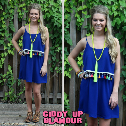 Give It A Whirl Tassel Trim Dress in Royal Blue