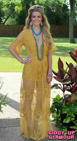 New Romantics Lace Romper in Mustard Yellow