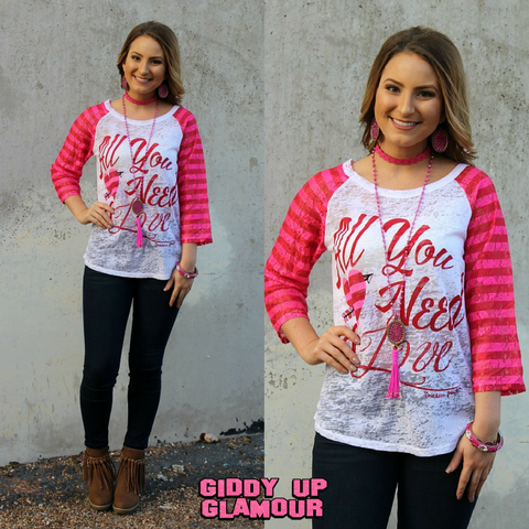 All You Need is Love Valentine's Baseball Burnout with Pink Stripe Sleeves