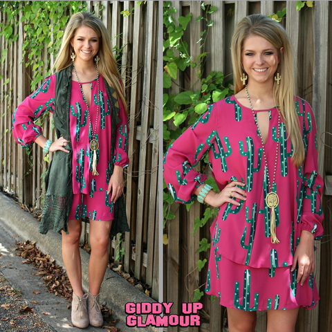 Desert Air Magenta Cactus Dress
