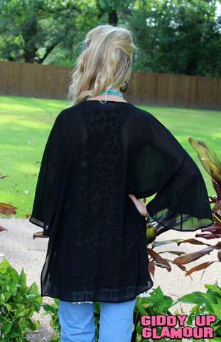 Change Your Mind Sheer Kimono in Black
