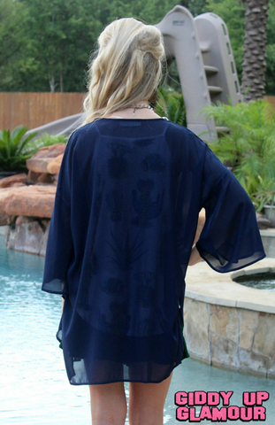 Change Your Mind Sheer Kimono in Navy