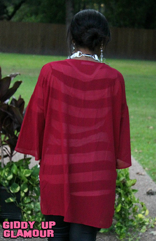 Change Your Mind Sheer Kimono in Maroon