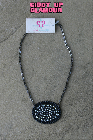 Pink Panache Black Matte Oval Necklace with Solid Black Crystals