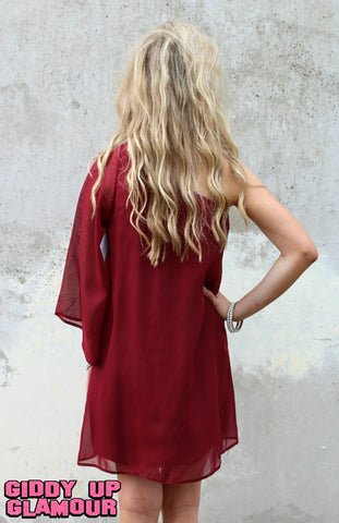 One Shoulder Wonder Dress in Maroon