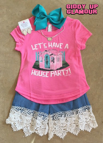 Childrens: Let's Have a House Party Hot Pink Short Sleeve Shirt