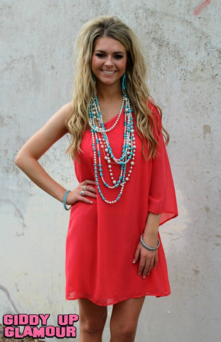 One Shoulder Wonder Dress in Coral