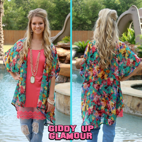 Adult: Just a Girl Floral Kimono in Mint