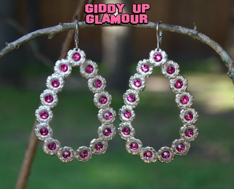 Pink Panache Silver Teardrop Earrings with Fuchsia Crystals