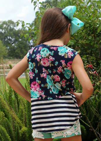 Childrens: Pocket Full of Petals Stripe and Floral Tank