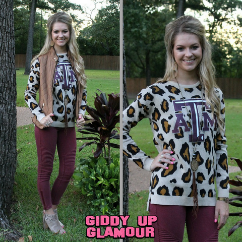 Game Day Collection: Wild Instincts TAMU Leopard Sweater
