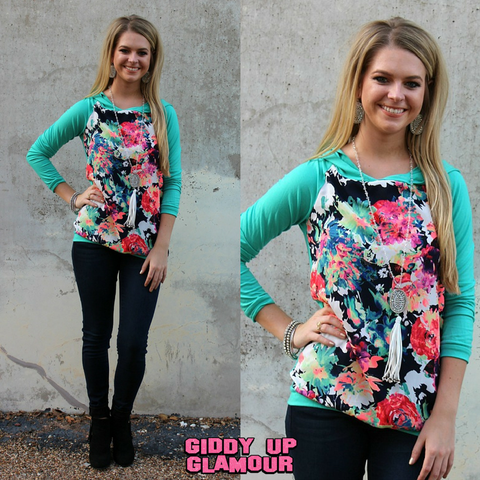 1b9058facf6e In a Heartbeat Neon Floral and Mint Hoodie ...