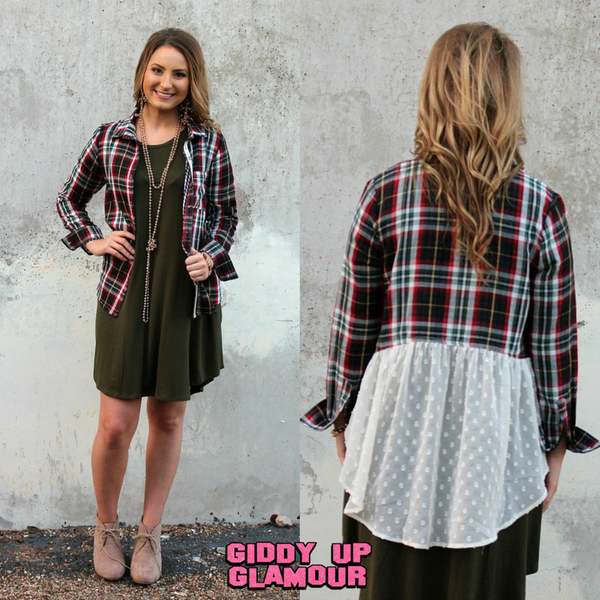 Right on Trend Plaid Button Up Shirt with Ivory Chiffon Back Detail