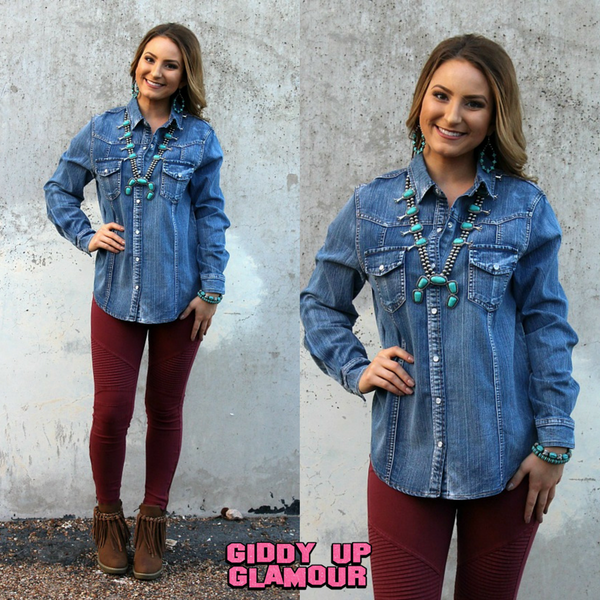 Cowgirl Chic Boho Style Clothing Plus Size Missy Distressed Denim Shirts