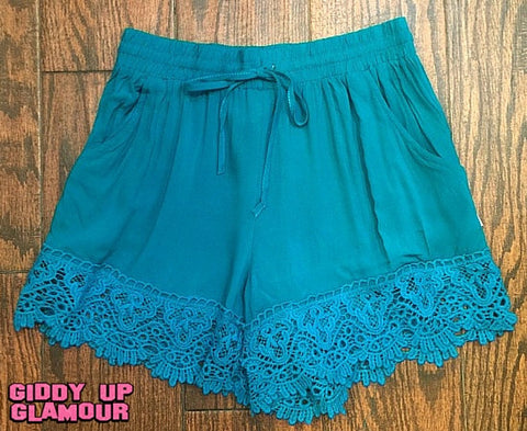 Summer Lovin' Shorts with Scalloped Lace Trim in Turquoise