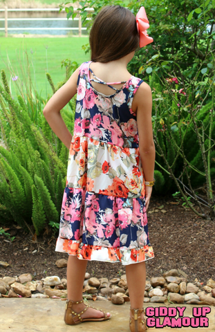 Childrens: Piece of Art Floral Patchwork Ruffle Dress
