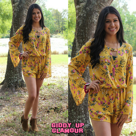 Paradise City Floral Romper in Mustard