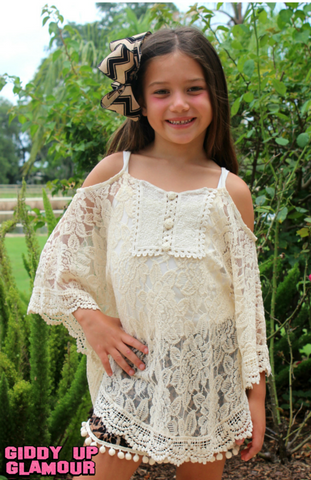 Childrens: On the Edge Ivory Lace Open Shoulder Poncho