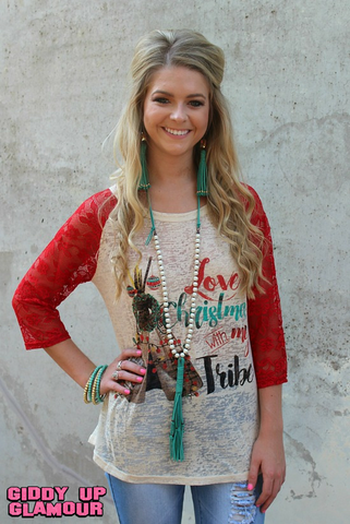 Love Christmas With My Tribe Baseball Tee with Red Lace Sleeves
