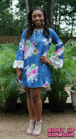 All Summer Long Floral Dress with Lace Trim in Navy Blue