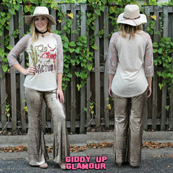 Glisten To Me Sequin Bell Bottom Pants in Rose Gold – Giddy