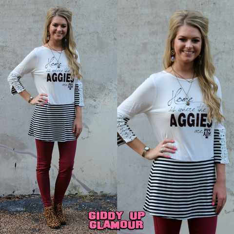 Game Day Collection: Meet Me in the Middle Texas A&M Button Back Top
