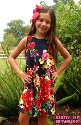 Childrens: In Full Bloom Floral Dress in Navy