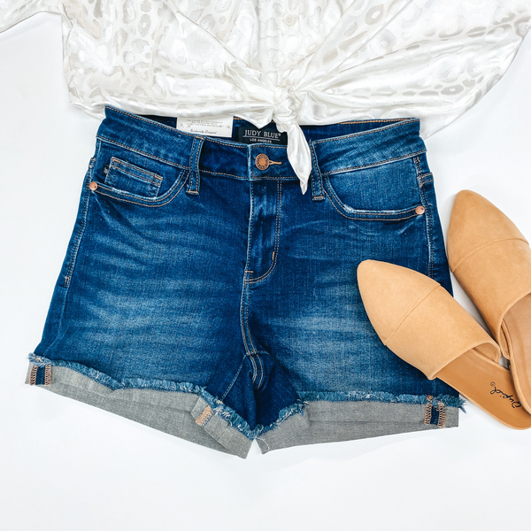 Judy Blue | New Wave Mid Rise Cuffed Hem Denim Shorts in Dark Wash
