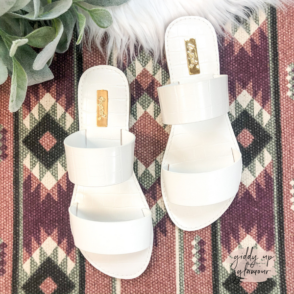 Summertime Chic Two Strap Sandals in White Croc