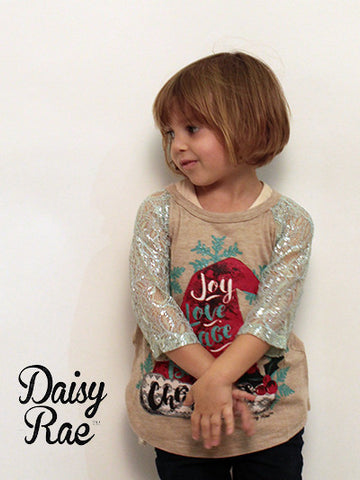Childrens: Joy, Love, Peace, Believe Christmas Baseball Tee with Mint Lace Sleeves