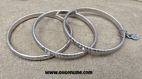 Set of 3 Hammered Silver Bangles