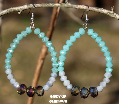 Mint and Grey Crystal Hoop Earrings