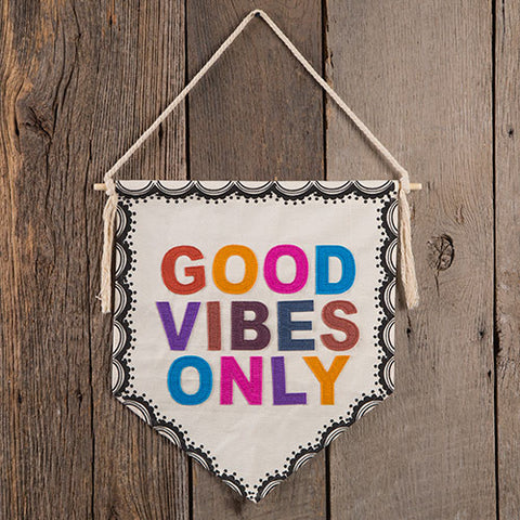 Good Vibes Only Canvas Wall Pennant
