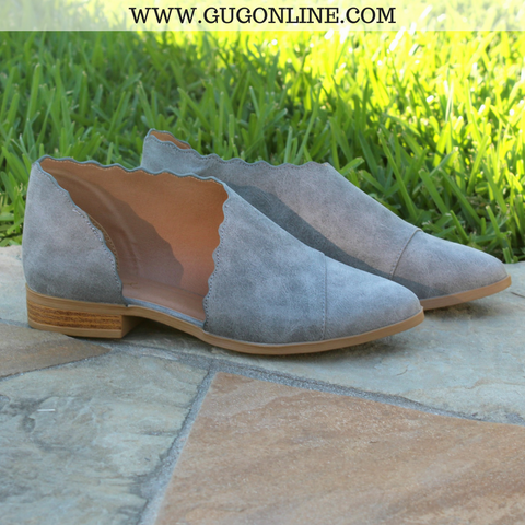 Side Slit Scalloped Edge Flat Booties in Ash Grey
