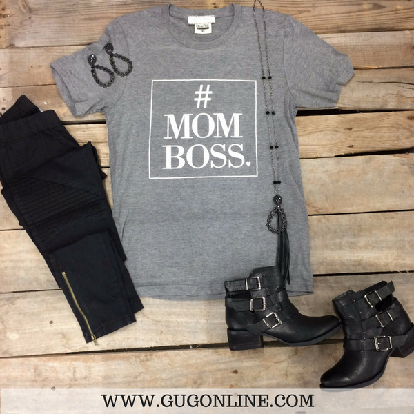 #Mom Boss Short Sleeve Grey Tee Shirt