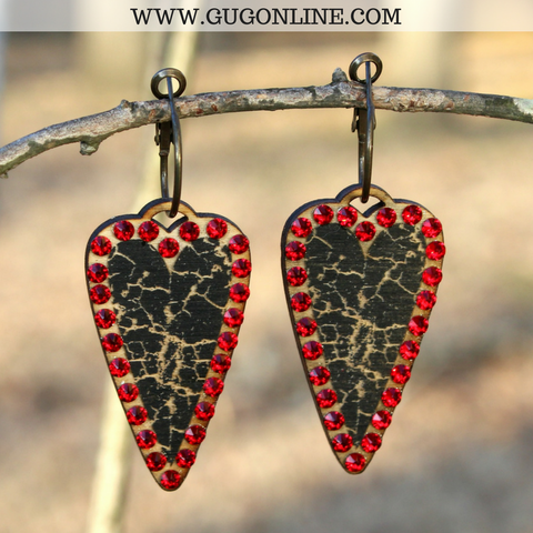 Pink Panache Black Crackle Heart Earrings with Red Crystals