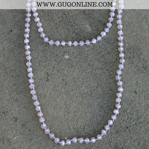 Pink Panache 38 Inch Crystal Layering Necklace in Light Pink