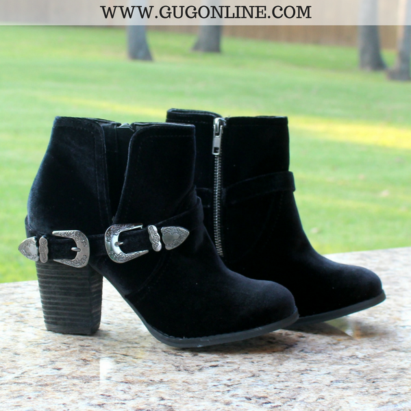 Not Rated Velvet Buckle Short Ankle Booties Boots