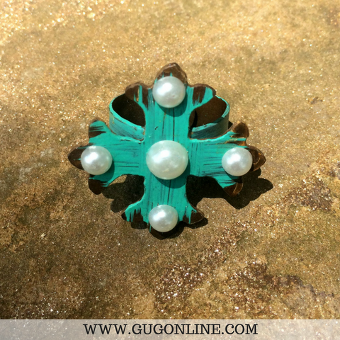 Metal Turquoise Cross Ring With Pearls