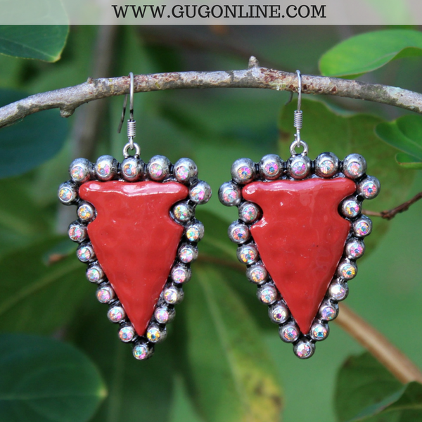 Arrow Head Earrings with AB Crystals in Red