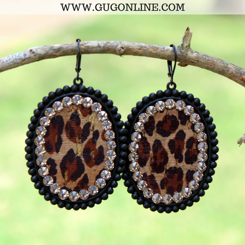 Pink Panache Black Matte Oval Earrings with Leopard Inlay and Topaz Crystals