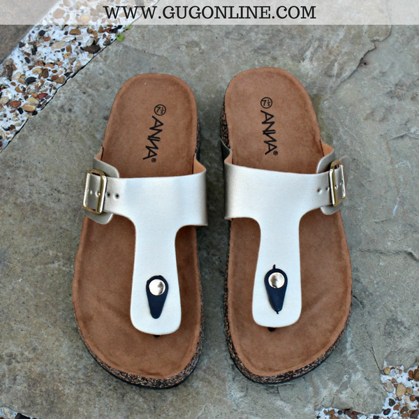 Summer Castaway Thong Sandal in Gold - sizes 7, 7.5, 8 and 9 left