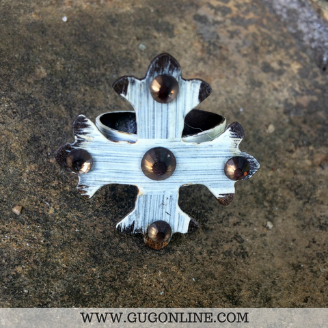 Metal Ivory Cross Ring With Topaz Crystals