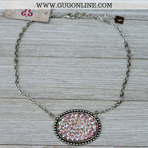 Pink Panache Silver Oval Necklace with Solid AB Crystals