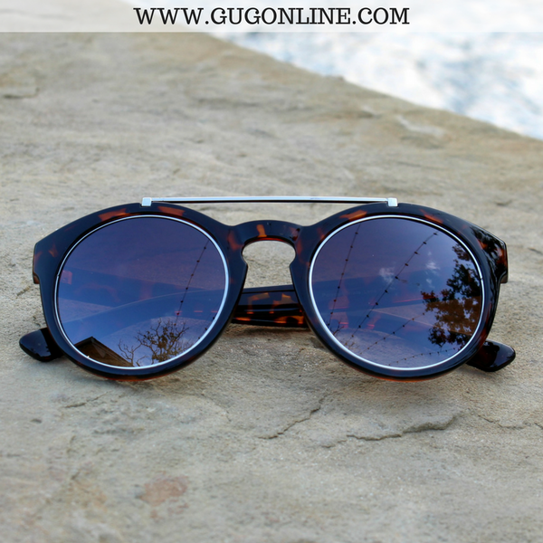 The Quinn Round Aviator Sunglasses in Tortoise with Silver Trim