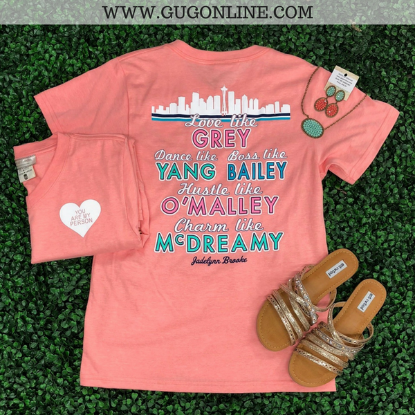 You Are My Person Grey's Anatomy Short Sleeve Tee Shirt in Coral