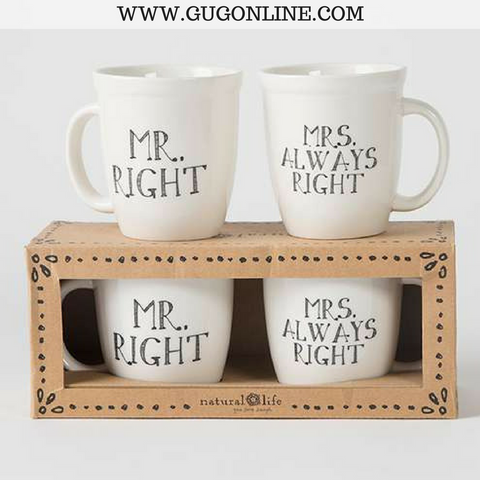 Mr and Mrs Right Ceramic Mug Set