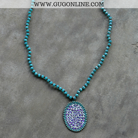 Pink Panache Long Turquoise Crystal Necklace with Large Turquoise Oval with AB Crystals